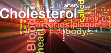 arteries: Word cloud concept illustration of  blood cholesterol glowing light effect