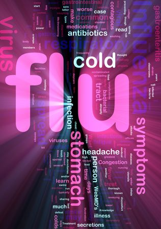 gastroenteritis: Word cloud concept illustration of  flu influenza glowing light effect  Stock Photo
