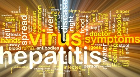 Word cloud concept illustration of  hepatitis virus glowing light effect  illustration