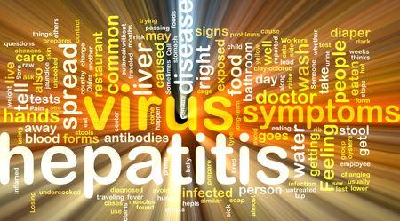 hepatitis virus: Word cloud concept illustration of  hepatitis virus glowing light effect