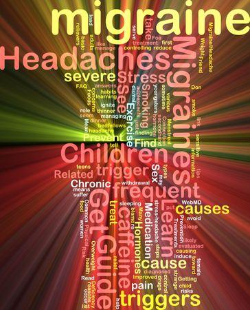 hormonas: Concepto de Word nube ilustraci�n de la migra�a efecto de luz brillante