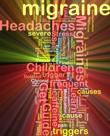 trigger: Word cloud concept illustration of  migraine headache glowing light effect