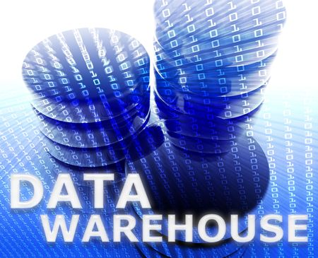 warehousing: Data warehouse abstract, computer technology information concept illustration