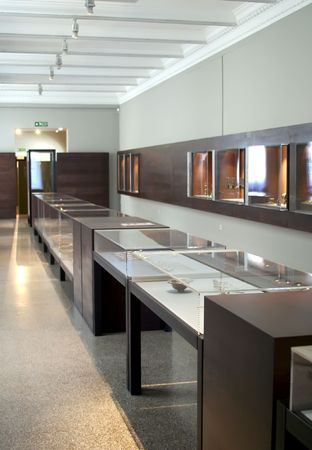 ancient relics: Museum exhibits of ancient relics in glass cases Stock Photo