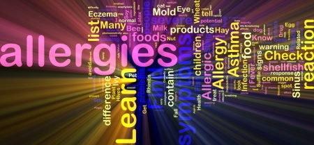 Word cloud concept illustration of  allergies symptoms glowing light effect  illustration