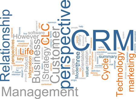 wordcloud: Word cloud concept illustration of CRM Customer Relationship Management Stock Photo