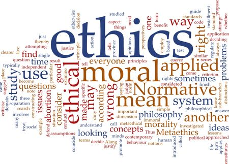 normative: Word cloud concept illustration of moral ethics