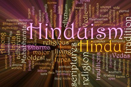hinduismo: Concepto de Word nube ilustraci�n de la religi�n del hinduismo efecto de luz brillante Foto de archivo