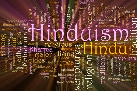 hinduism: Word cloud concept illustration of  Hinduism religion glowing light effect