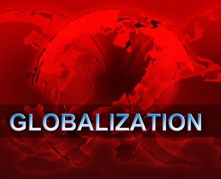 Globalization international free trade economy illustration with globes illustration