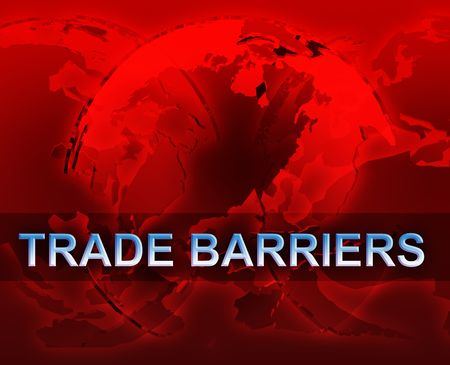 Trade barriers globalization international free trade economy illustration with globes illustration