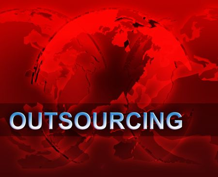 outsourcing: Outsourcing globalization international free trade economy illustration with globes