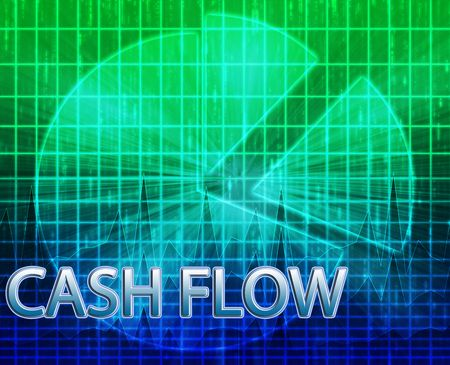 cash flow: Illustration of cash flow budgeting finance and business pie chart