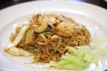 Chinese fried glass noodles with prawns traditional cuisine photo