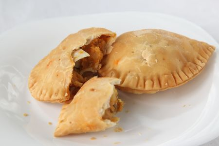 fried snack: Curry puff, spicy pastry asian empanada fried snack