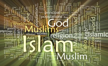 sufi: Word cloud concept illustration of  Muslim Islam glowing light effect  Stock Photo