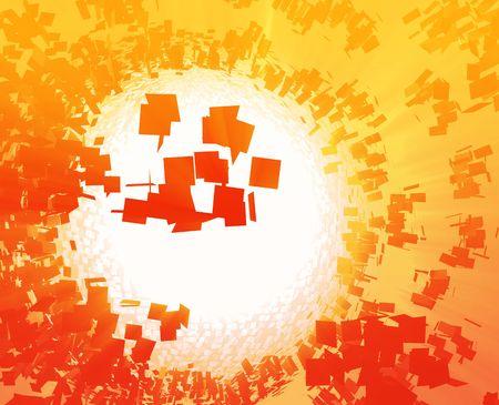 detonation: Abstract background illustration of shattered exploding geometric shapes