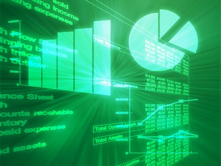 calculating: Illustration of Spreadsheet data and business charts in glowing wireframe style Stock Photo