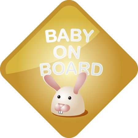 Baby on board sticker with bunny, sign illustration illustration