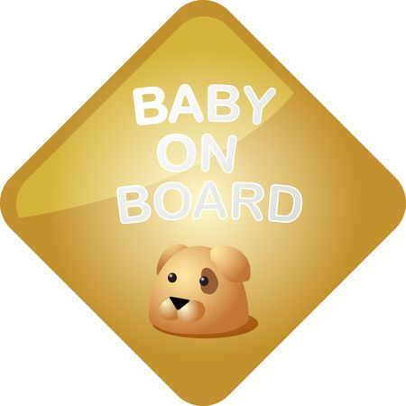 Baby on board sticker with dog, sign illustration illustration