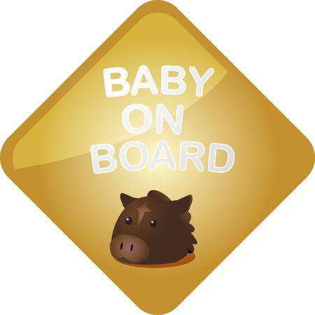Baby on board sticker with horse, sign illustration illustration
