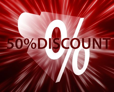 retailing: Fifty percent discount, retail sales promotion announcement illustration Stock Photo