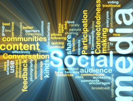 connectedness: Word cloud tags concept illustration of social media glowing light effect  Stock Photo