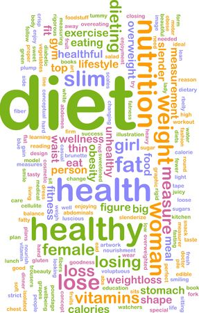 healthful: Word cloud concept illustration of healthy diet