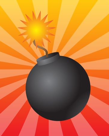 Old fashioned round black bomb with lit fuse photo
