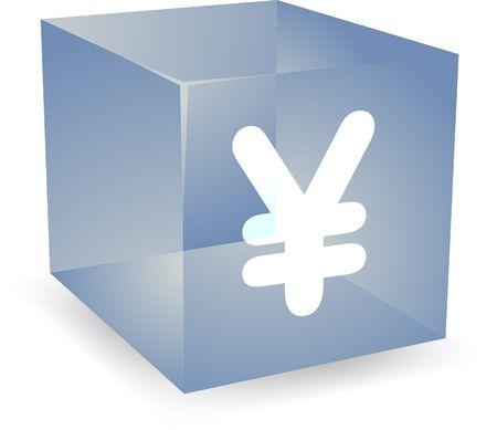 Japanese yen icon on translucent cube shape illustration Stock Illustration - 5417865