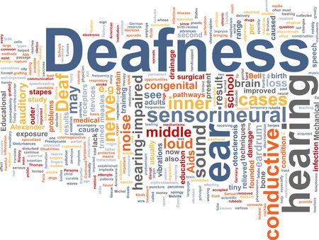 receptors: Word cloud concept illustration of hearing deafness Stock Photo