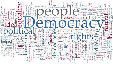 democracia: Concepto de Word nube ilustraci�n de la democracia pol�tica