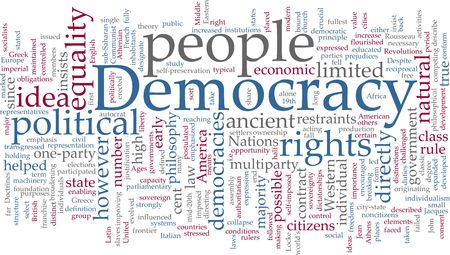 democracies: Word cloud concept illustration of democracy political