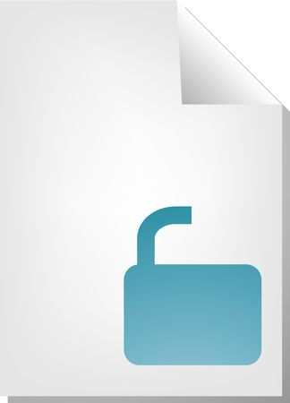 unlocked: Unlocked security document file type illustration clipart Stock Photo