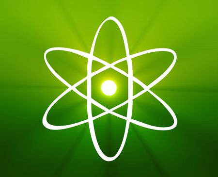 nuclear fission: Atomic nuclear symbol scientific illustration of orbiting atom Stock Photo