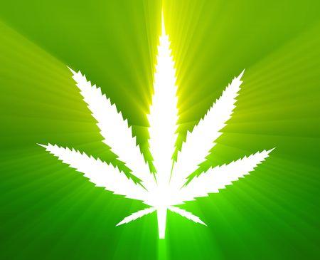 marihuana: Ilustraci�n de hoja de cannabis marihuana, dise�o de signo abstracto