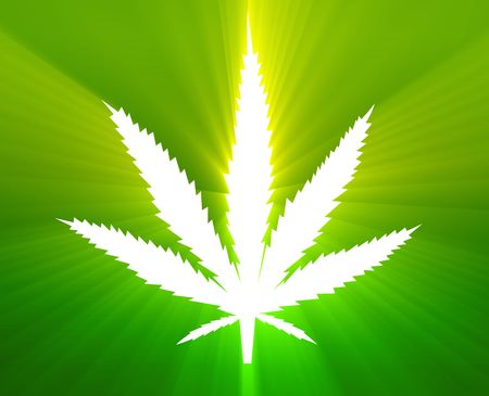 Marijuana cannabis leaf illustration, abstract symbol design Stock Illustration - 5417893