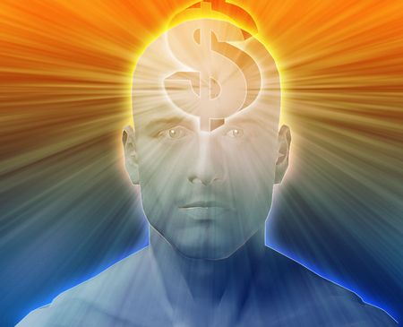 envision: Man thinking about money dollars,floating over head
