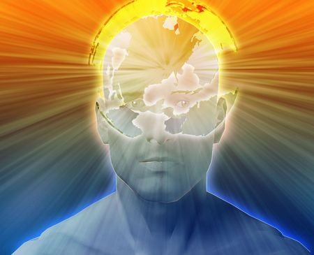 think about: Man thinking about global international issues, floating over head