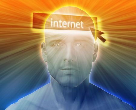 envision: Man thinking about internet clicking,floating over head