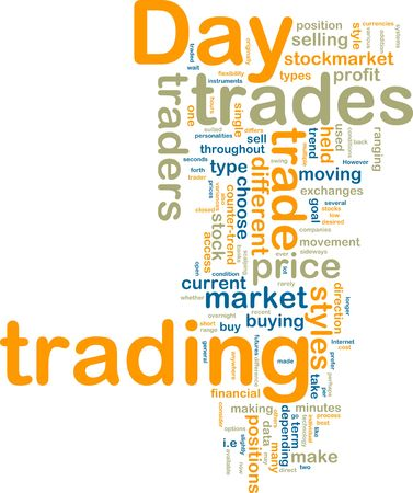 stock trading: Word cloud tags concept illustration of day trading Stock Photo