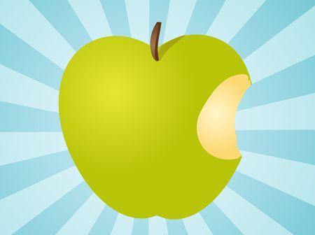 apple bite: Apple illustration whole green fruit with bite