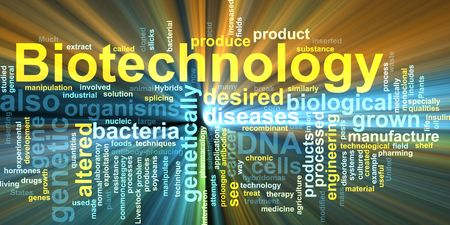 recombinant dna: Word cloud concept illustration of  biotechnology research glowing light effect