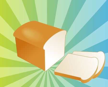 basic food: Illustration of a sliced loaf of bread on radial burst background