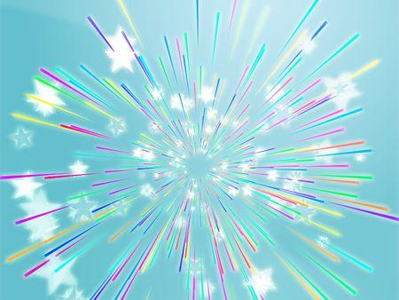 Central bursting explosion of dynamic flying stars, abstract illustration Stock Illustration - 5476479