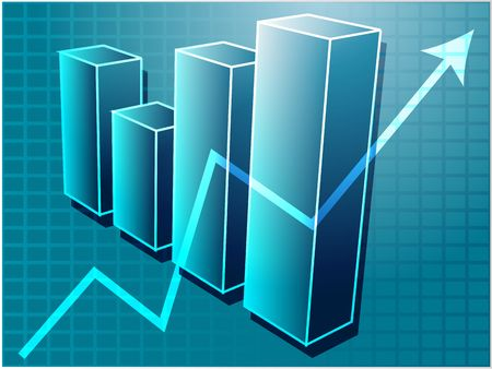 commissions: Three-d barchart and upwards line graph financial diagram illustration over square grid