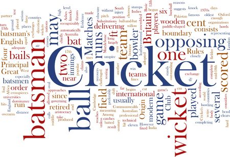 opposing: Word cloud concept illustration of Cricket sport