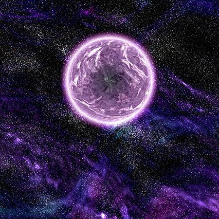 Science fiction planet complex space scene illustration Stock Illustration - 5476856