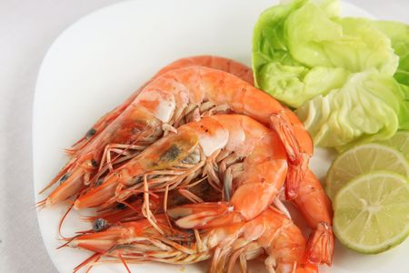Whole cooked prawns photo