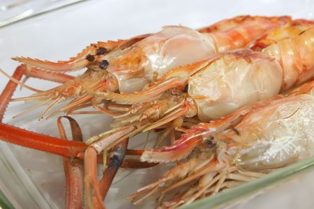 Whole grilled jumbo langoustine prawns in shell photo